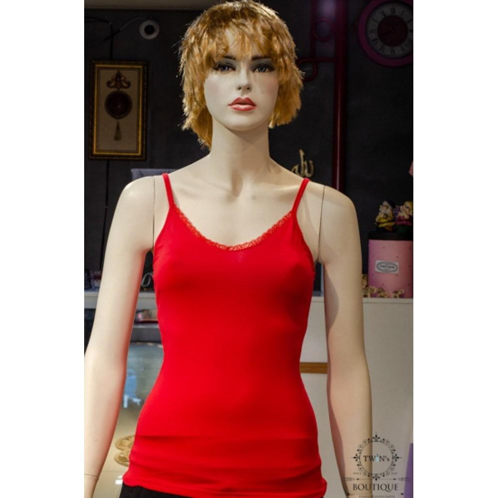 İnce Askılı Kırmızı Dantelli Body